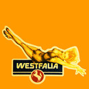 Sticker Westfalia Pin-up-Girl, used look, Vintage-style
